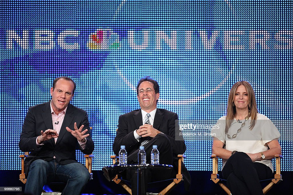 Comedian Tom Papa, Executive Producer Jerry Seinfeld and Executive Producer Ellen Rakieten speak onstage for NBC's television show 'The Marriage Ref' during the NBC Universal 2010 Winter TCA Tour day 2 at the Langham Hotel on January 10, 2010 in Pasadena, California.