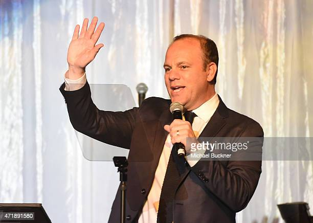 Comedian Tom Papa speaks onstage during the 20th Anniversary Taste for a Cure fundraiser benefitting UCLA's Jonsson Comprehensive Cancer Center at...