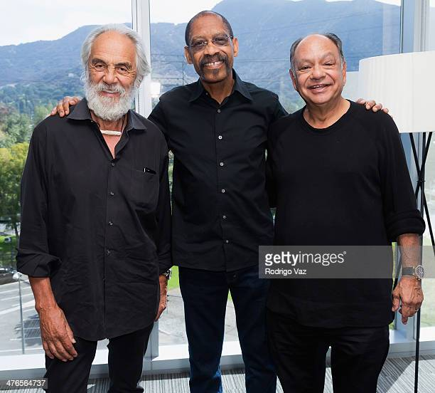 Comedian Tommy Chong singer Lonnie Jordan and comedian Cheech Marin attend the KCET Pledge Drive with WAR and Cheech Chong on March 3 2014 in Burbank...