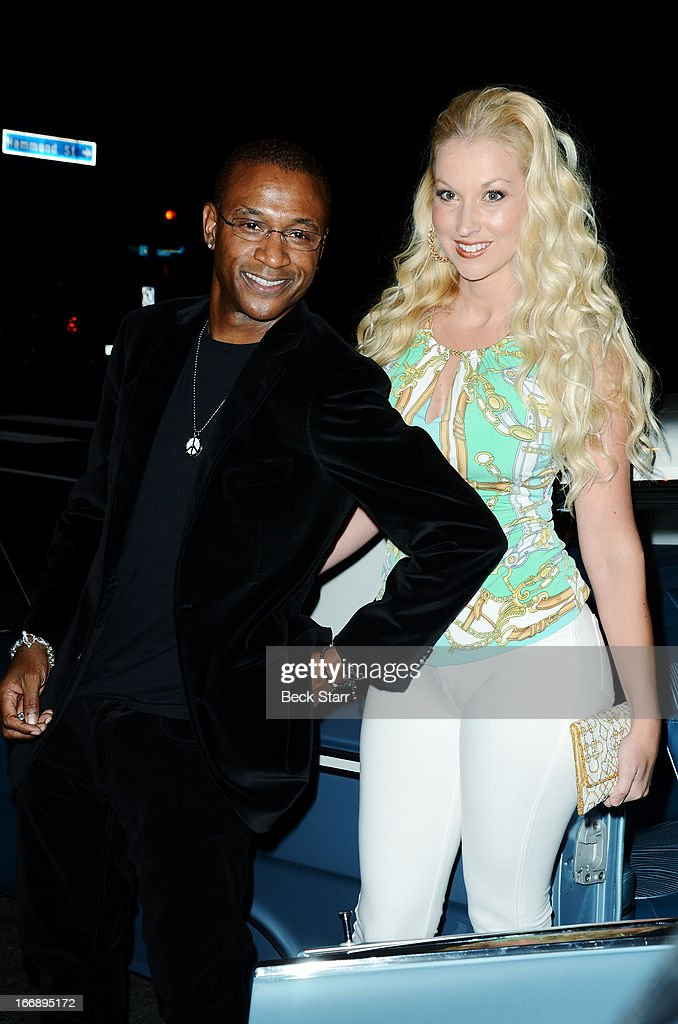 Comedian Tommy Davidson and his guest arrive at 'Cheech And Chong's Animated Movie!' VIP green carpet premiere at The Roxy Theatre on April 17, 2013 in West Hollywood, California.