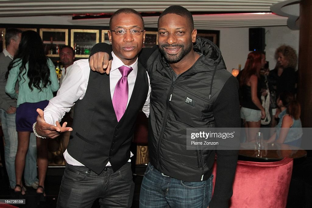 Comedian Tommy Davidson & DJ Irie at Dore Restaurant and Lounge on March 27, 2013 in Miami Beach, Florida.
