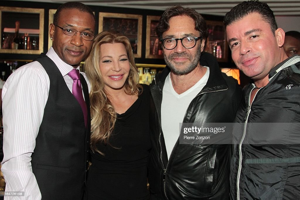 Comedian Tommy Davidson, Singer Taylor Dayne and Jazz musician Al Di Meola & No Mercy Marty Cintron at Dore Restaurant and Lounge on March 27, 2013 in Miami Beach, Florida.