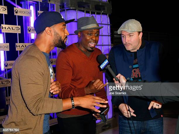 Comedian Tone Bell actor Wayne Brady and actor Scott Porter walk the Green Carpet at HaloFest at the Avalon Theatre on Monday Nov 10 2014 in Los...