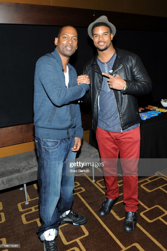 Comedian <a gi-track='captionPersonalityLinkClicked' href=/galleries/search?phrase=Tony+Rock&family=editorial&specificpeople=221570 ng-click='$event.stopPropagation()'>Tony Rock</a> (L) and recording artist J. Drew Sheard attend the BET Networks 2013 New York Upfront on April 16, 2013 in New York City.