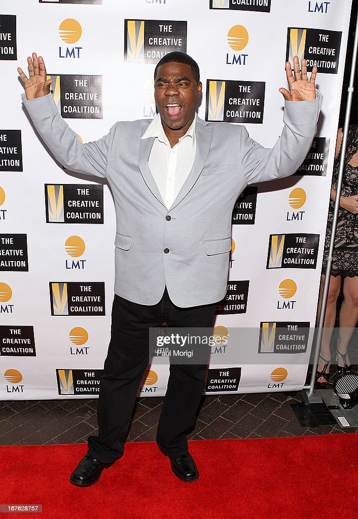 Comedian <a gi-track='captionPersonalityLinkClicked' href=/galleries/search?phrase=Tracy+Morgan&family=editorial&specificpeople=182428 ng-click='$event.stopPropagation()'>Tracy Morgan</a> attends the Celebrating The Arts In American Dinner Party With Distinguished Women In Media Presented By Landmark Technology Inc. And The Creative Coalition at Neyla on April 26, 2013 in Washington, DC.