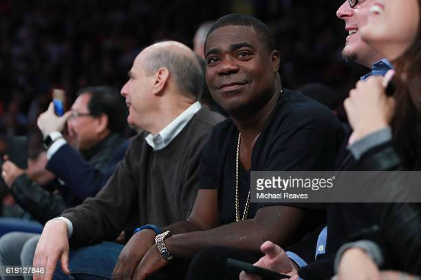 Comedian Tracy Morgan watches from the sideline during the first half of the game between the Memphis Grizzlies and the New York Knicks at Madison...