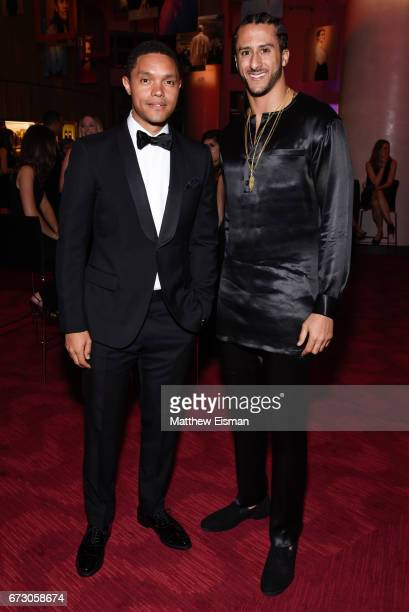 Comedian Trevor Noah and NFL quarterback Colin Kaepernick attend 2017 Time 100 Gala at Frederick P Rose Hall Jazz at Lincoln Center on April 25 2017...