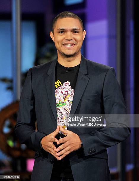 Comedian Trevor Noah performs on the Tonight Show With Jay Leno at NBC Studios on January 6 2012 in Burbank California