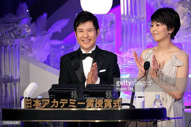 Comedian Tsutomu Sekine and actress Takako Matsu attend the 34th Japan Academy Awards at Grand Prince Hotel New Takanawa on February 18 2011 in Tokyo...