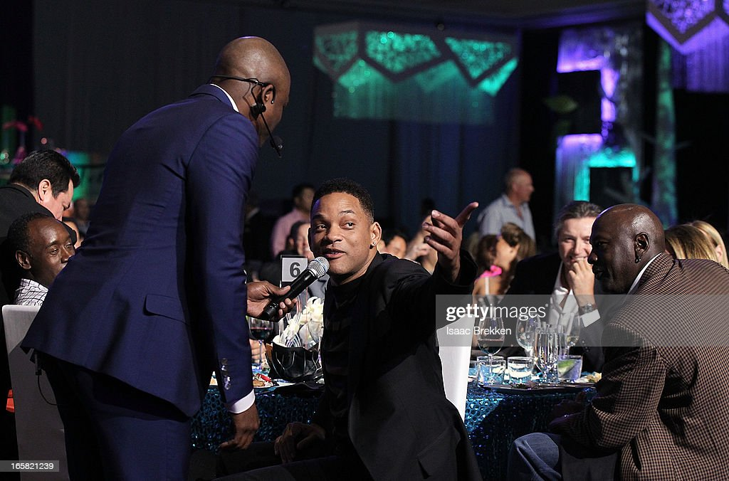 Comedian Wayne Brady, actor Will Smith and Charlotte Bobcats owner Michael Jordan attend the 12th Annual Michael Jordan Celebrity Invitational Gala At ARIA Resort & Casino on April 5, 2013 in Las Vegas, Nevada.