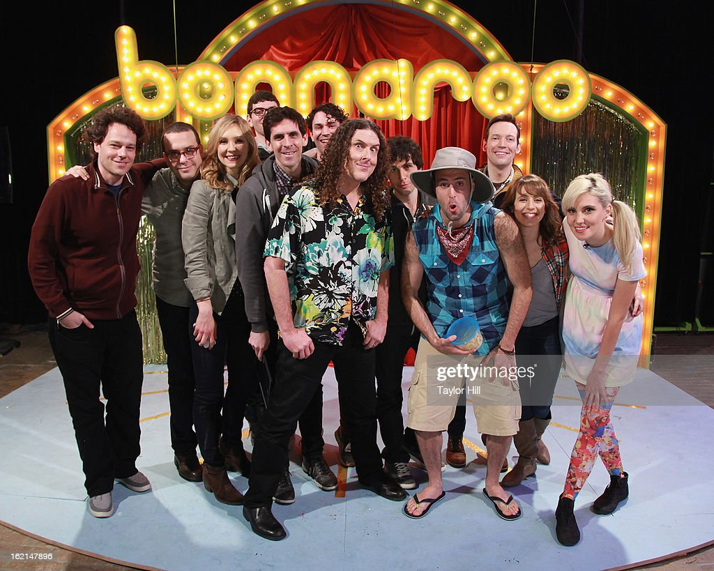 Comedian 'Weird Al' Yankovic poses with the cast of the 2013 Bonnaroo Lineup Announcement Megathon on February 19, 2013 in New York City. Headliners for the 2013 Bonnaroo Music & Arts Festival include Paul McCartney, Tom Petty, and Mumford & Sons.