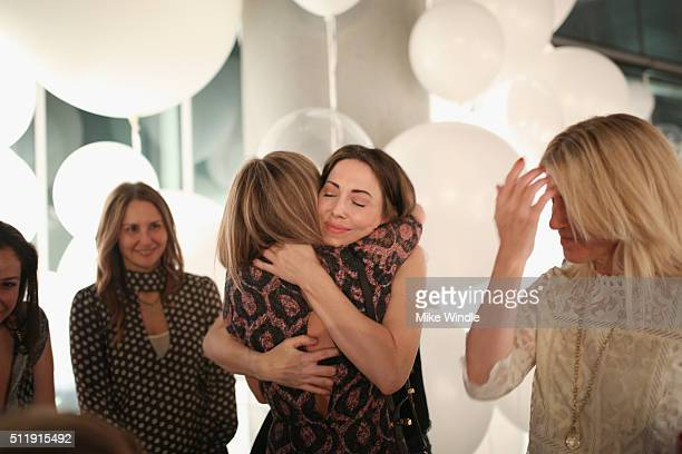 Comedian Whitney Cummings and actress Jennifer Aniston attends smartwater sparkling celebrates Jennifer Aniston and St Jude's Children's Hospital at...