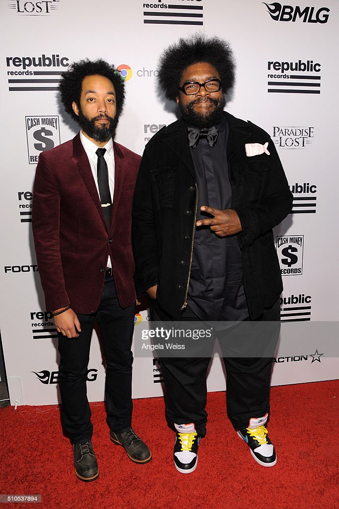 Comedian Wyatt Cenac (L) and musician Questlove attend the Republic Records Grammy Celebration presented by Chromecast Audio at Hyde Sunset Kitchen & Cocktail on February 15, 2016 in Los Angeles, California.