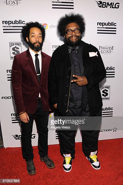 Comedian Wyatt Cenac and musician Questlove attend the Republic Records Grammy Celebration presented by Chromecast Audio at Hyde Sunset Kitchen...