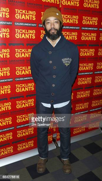 Comedian Wyatt Cenac attends the 'Tickling Giants' New York premiere at IFC Center on March 16 2017 in New York City