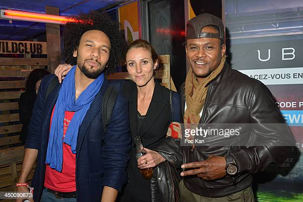 Comedian Yassine Azzouz Make up artist Isabelle Theviot and actor Malik Barnhardt attend the 'Desperados Wild Club Party' At The 25eme Etage...