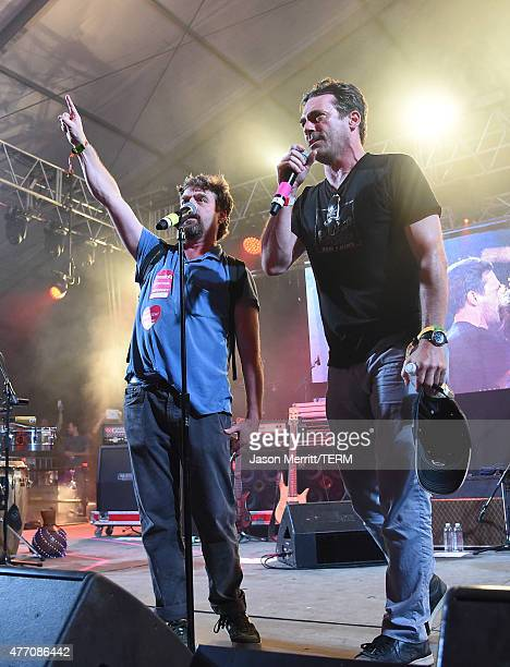 Comedian Zach Galifianakis and actor Jon Hamm seen on the 'Other' stage during the 2015 Bonnaroo Music Arts Festival on June 13 2015 in Manchester...
