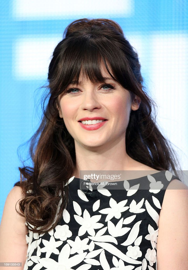 Comedian <a gi-track='captionPersonalityLinkClicked' href=/galleries/search?phrase=Zooey+Deschanel&family=editorial&specificpeople=202927 ng-click='$event.stopPropagation()'>Zooey Deschanel</a> of 'New Girl' speaks onstage during the FOX portion of the 2013 Winter TCA Tour at Langham Hotel on January 8, 2013 in Pasadena, California.