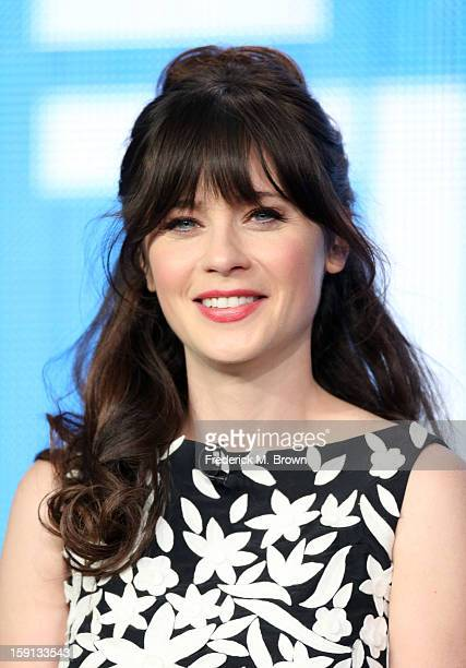 Comedian Zooey Deschanel of 'New Girl' speaks onstage during the FOX portion of the 2013 Winter TCA Tour at Langham Hotel on January 8 2013 in...