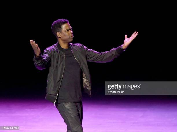 Comedian/actor Chris Rock performs his standup comedy routine during a stop of his Total Blackout tour at Park Theater at Monte Carlo Resort and...
