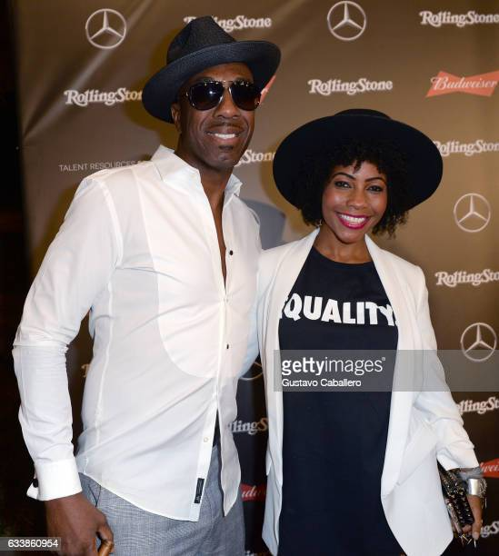 Comedian/actor J B Smoove and singer Shahidah Omar at the Rolling Stone Live Houston presented by Budweiser and MercedesBenz on February 4 2017 in...