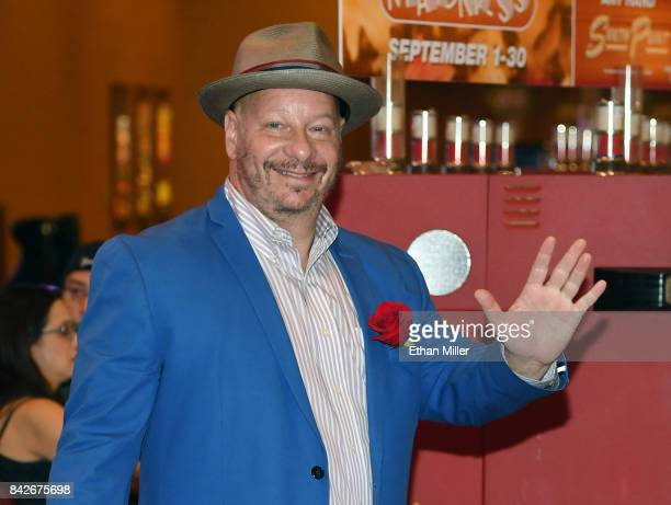Comedian/actor Jeffrey Ross waves as he leaves a memorial for Jerry Lewis at the South Point Hotel Casino on September 4 2017 in Las Vegas Nevada...