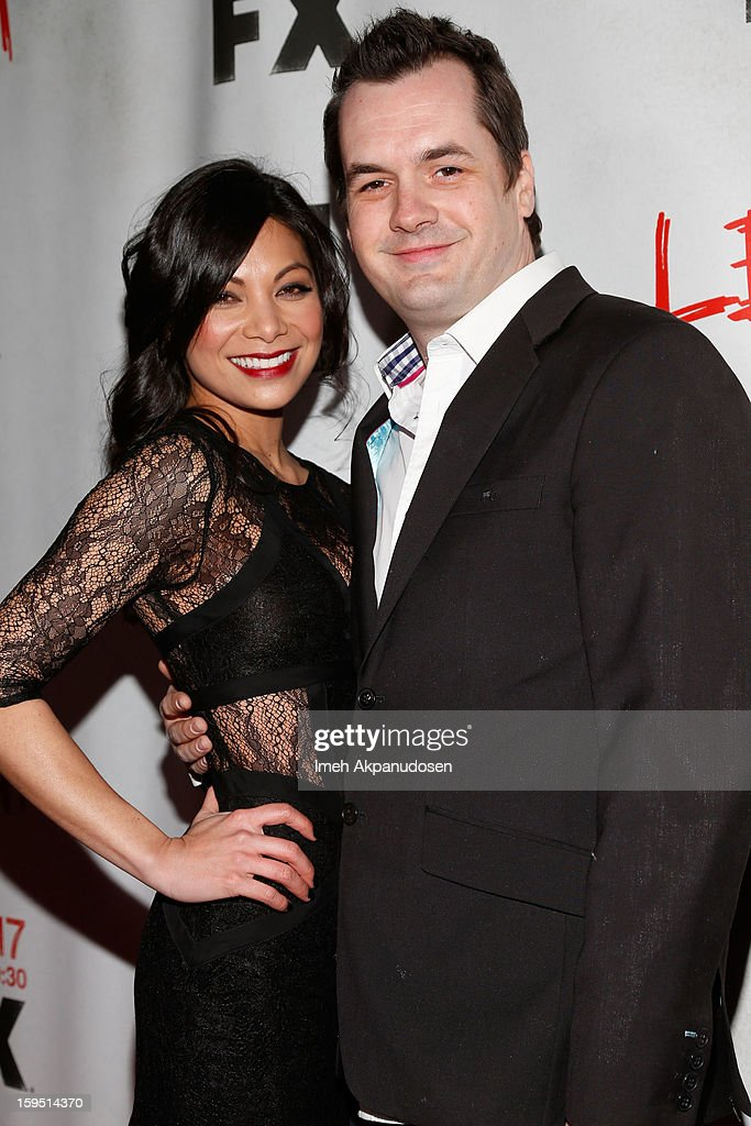 Comedian/actor Jim Jefferies (L) and actress Ginger Gonzaga attend the screening of FX's new comedy series 'Legit' on January 14, 2013 in Los Angeles, California.