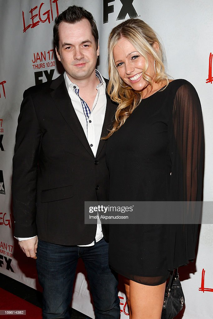 Comedian/actor Jim Jefferies (L) and Kate Luyben attend the screening of FX's new comedy series 'Legit' on January 14, 2013 in Los Angeles, California.