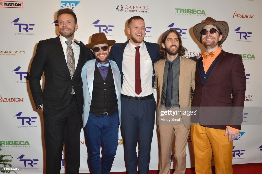 Comedian/actor Joel McHale, bassist Ben McKee of Imagine Dragons, singer/drummer Dan Reynolds of Imagine Dragons, guitarist Wayne Sermon of Imagine Dragons and drummer Daniel Platzman of Imagine Dragons attend the fourth annual Tyler Robinson Foundation gala benefiting families affected by pediatric cancer at Caesars Palace on August 25, 2017 in Las Vegas, Nevada.