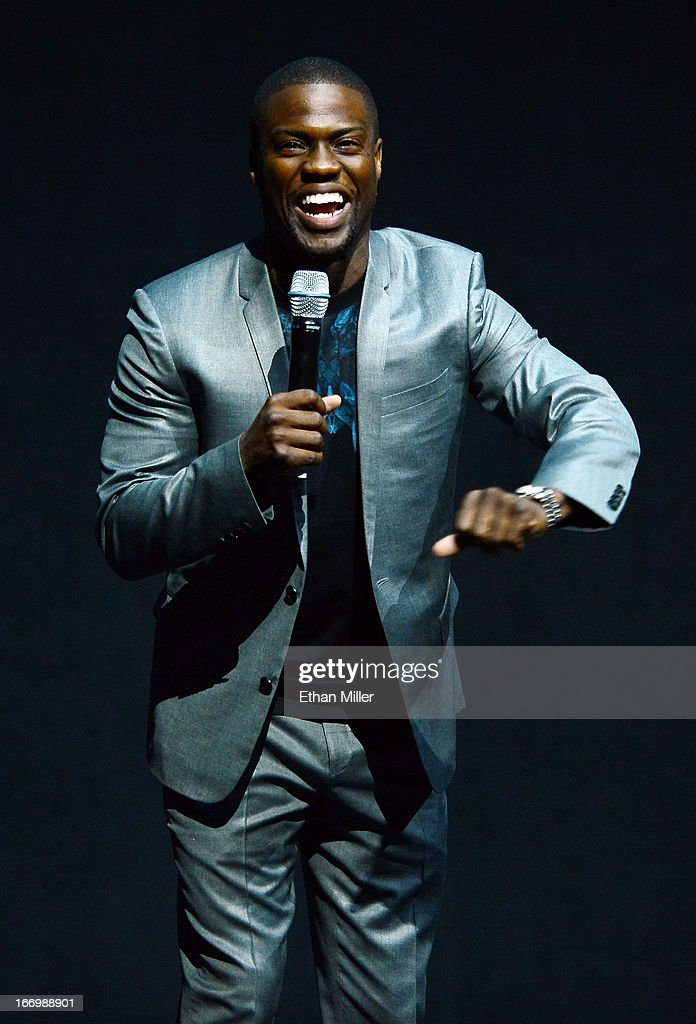 Comedian/actor Kevin Hart speaks during a Lionsgate Motion Picture Group presentation to promote the upcoming film 'Let Me Explain' at The Colosseum...