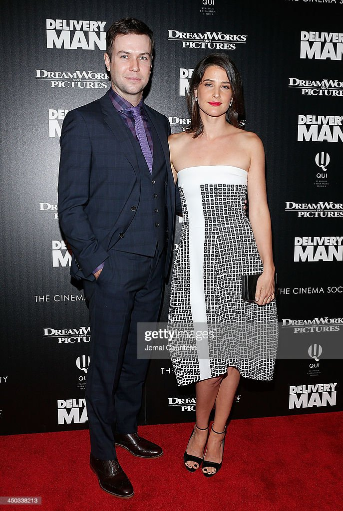 Comedian/actor <a gi-track='captionPersonalityLinkClicked' href=/galleries/search?phrase=Taran+Killam&family=editorial&specificpeople=3798325 ng-click='$event.stopPropagation()'>Taran Killam</a> and actress <a gi-track='captionPersonalityLinkClicked' href=/galleries/search?phrase=Cobie+Smulders&family=editorial&specificpeople=739940 ng-click='$event.stopPropagation()'>Cobie Smulders</a> attend the screening of 'Delivery Man' hosted by DreamWorks Pictures and The Cinema Society at Paley Center For Media on November 17, 2013 in New York City.