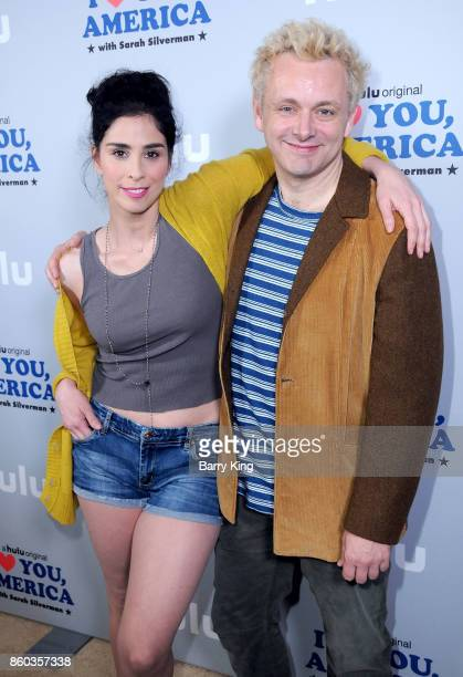 Comedian/actress Sarah Silverman and actor Michael Seen attend photo op for Hulu's 'I Love You America' at Cheateau Marmont on October 11 2017 in Los...