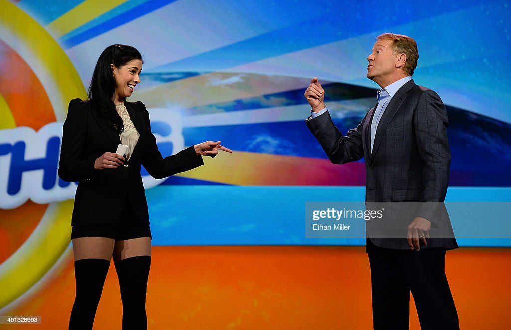 Comedian/actress Sarah Silverman joins Cisco Systems Inc Chairman and CEO John Chambers as he delivers a keynote address at the 2014 International...