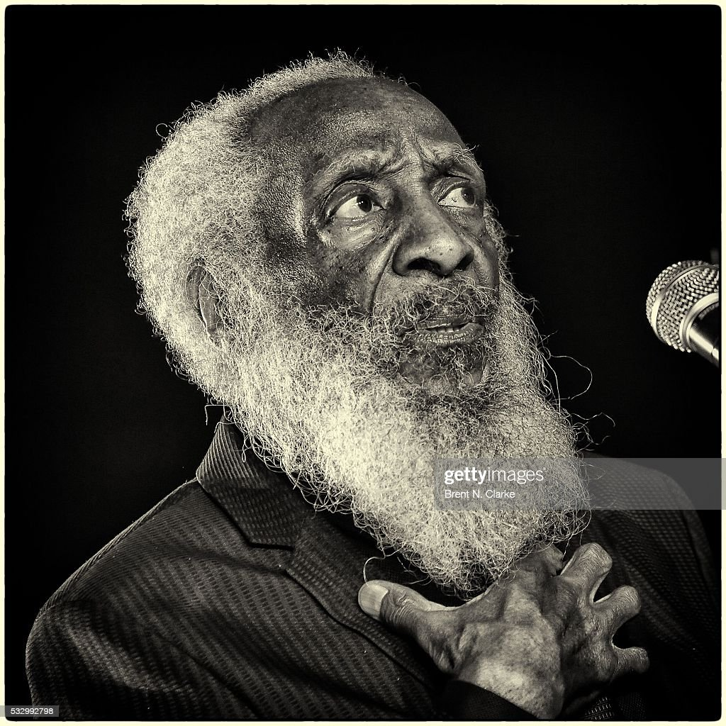 Comedian/civil rights activist <a gi-track='captionPersonalityLinkClicked' href=/galleries/search?phrase=Dick+Gregory+-+Activist&family=editorial&specificpeople=226818 ng-click='$event.stopPropagation()'>Dick Gregory</a> speaks on stage following the opening night performance of 'Turn Me Loose' held at The Westside Theatre on May 19, 2016 in New York City.
