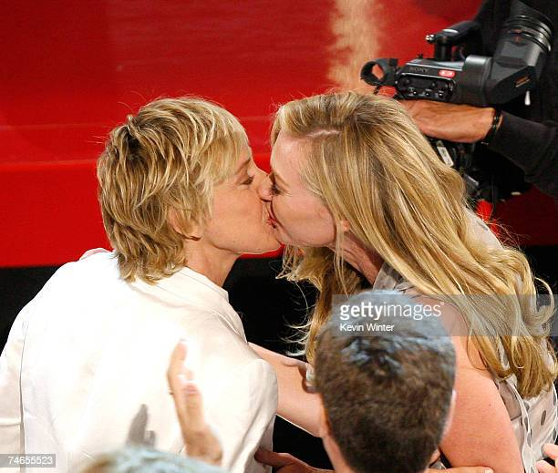 Comedian/host Ellen DeGeneres and actress Portia Di Rossi kiss in the audience during the 34th Annual Daytime Emmy Awards held at the Kodak Theatre...