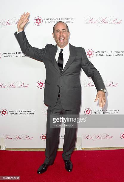 ComedianJerry Seinfeld arrives at American Friends Of Magen David Adom Host Third Annual Red Star Ball at The Beverly Hilton Hotel on October 22 2015...