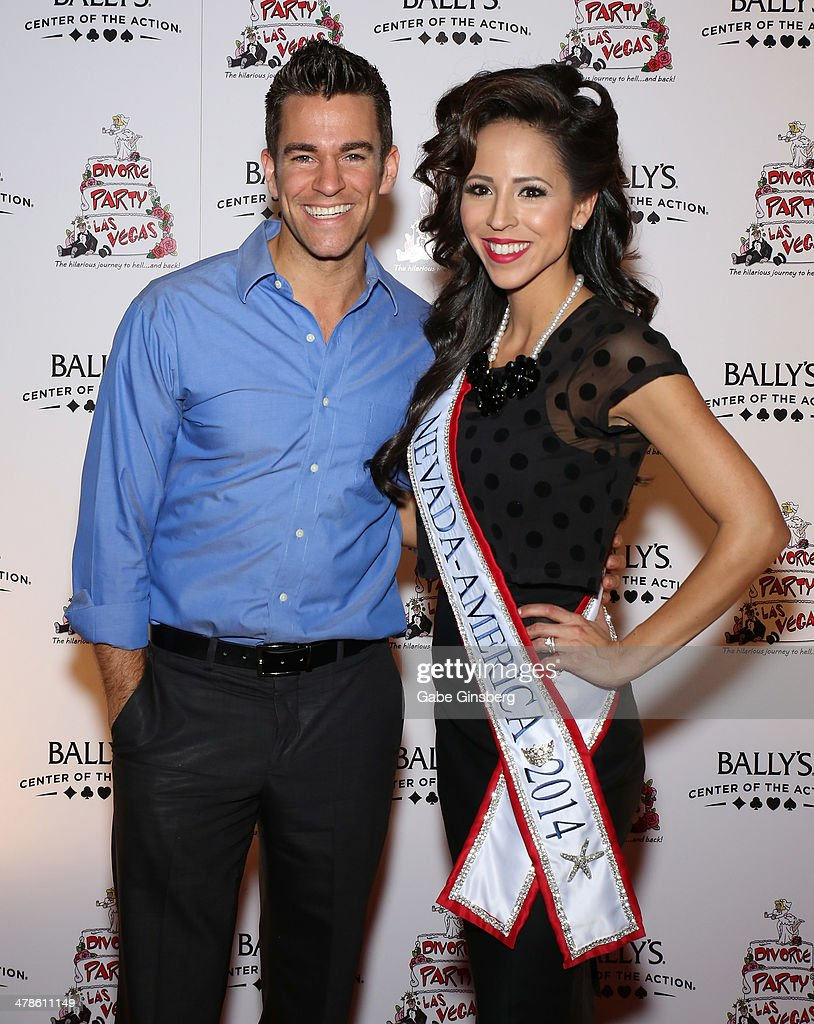 Comedian/juggler Jeff Civillico (L) and Mrs. Nevada America 2014 Lavetta Schneider arrive at the Las Vegas premiere of 'Divorce Party' at the Windows Showroom at Bally's Las Vegas on March 13, 2014 in Las Vegas, Nevada.