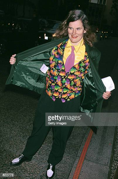 Comedianne Paula Poundstone arrives at the Los Angeles chapter of Death Penalty Focus'' 10th Annual awards banquet April 4 2001 in Los Angeles CA DPF...