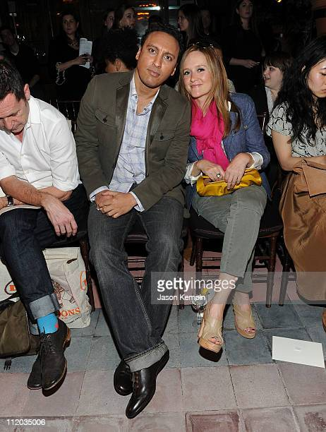 Comedians Aasif Mandvi and Samantha Bee attend the Banana Republic Fall 2011 Collection fashion show at The Bowery Hotel on April 11 2011 in New York...