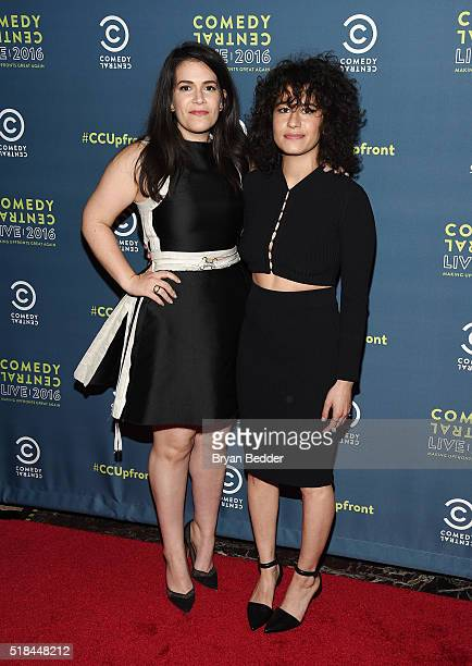 Comedians Abbi Jacobson and Ilana Glazer attend the Comedy Central Live 2016 upfront afterparty at Gotham Hall on March 31 2016 in New York City