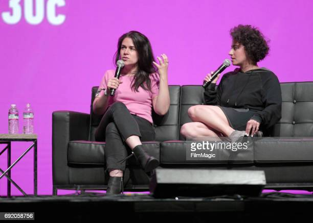 Comedians Abbi Jacobson and Ilana Glazer speak onstage at The Bill Graham Stage during Colossal Clusterfest at Civic Center Plaza and The Bill Graham...