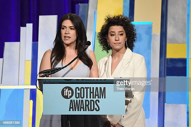 Comedians Abbi Jacobson and Ilana Glazer speak onstage during the 25th Annual Gotham Independent Film Awards at Cipriani Wall Street on November 30...