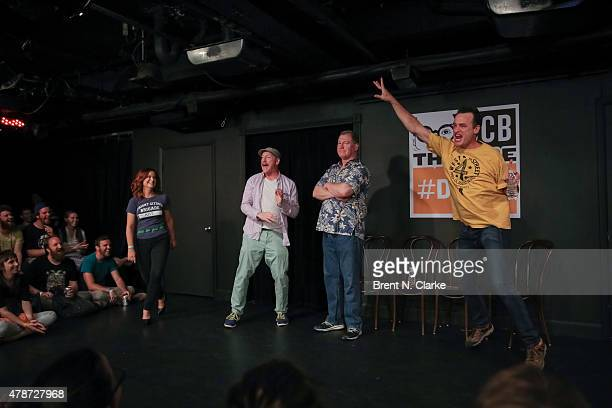 Comedians Amy Poehler Matt Walsh Ian Roberts and Matt Besser perform on stage during the 17th Annual Del Close Improv Comedy Marathon Press...