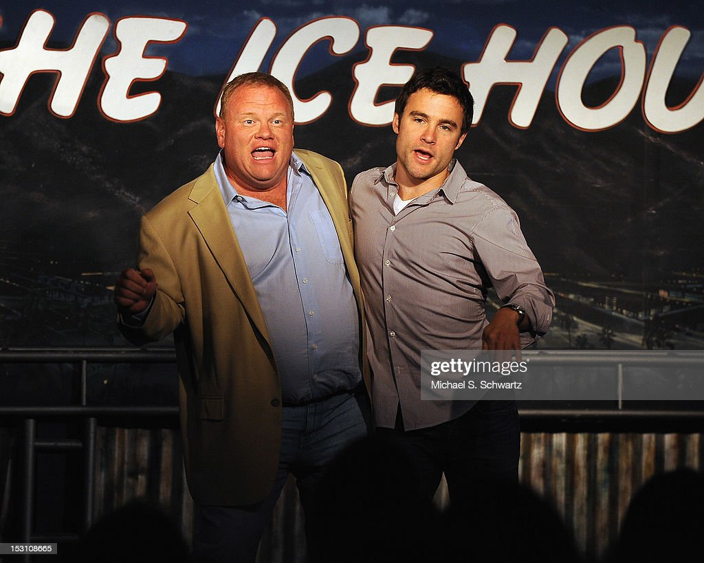 Comedians and actors Larry Joe Campbell (L) and Robert Belushi perform during the Chicago Board of Improv Comedy Show at The Ice House Comedy Club on September 29, 2012 in Pasadena, California.