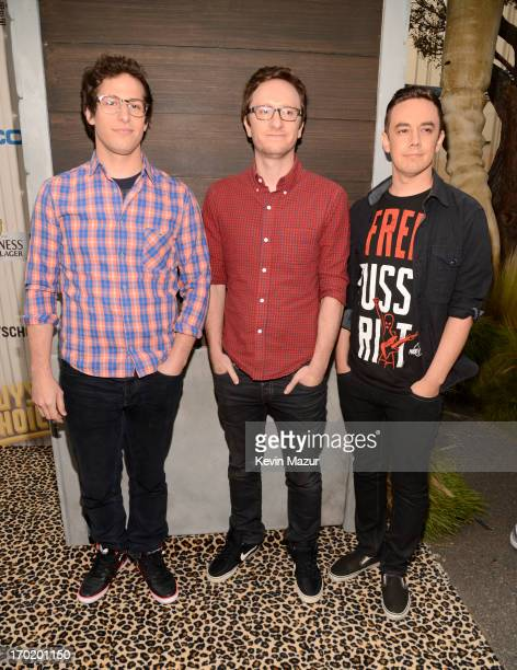 Comedians Andy Samberg Akiva Schaffer and Jorma Taccone of The Lonely Island attend the 2013 Spike TV Guys Choice at Sony Pictures Studios on June 8...