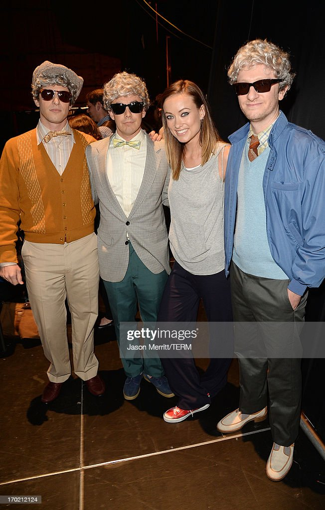 Comedians <a gi-track='captionPersonalityLinkClicked' href=/galleries/search?phrase=Andy+Samberg&family=editorial&specificpeople=595651 ng-click='$event.stopPropagation()'>Andy Samberg</a> and <a gi-track='captionPersonalityLinkClicked' href=/galleries/search?phrase=Jorma+Taccone&family=editorial&specificpeople=4432803 ng-click='$event.stopPropagation()'>Jorma Taccone</a>, actress <a gi-track='captionPersonalityLinkClicked' href=/galleries/search?phrase=Olivia+Wilde&family=editorial&specificpeople=235399 ng-click='$event.stopPropagation()'>Olivia Wilde</a>, and comedian Akiva Schaffer attend Spike TV's Guys Choice 2013 at Sony Pictures Studios on June 8, 2013 in Culver City, California.