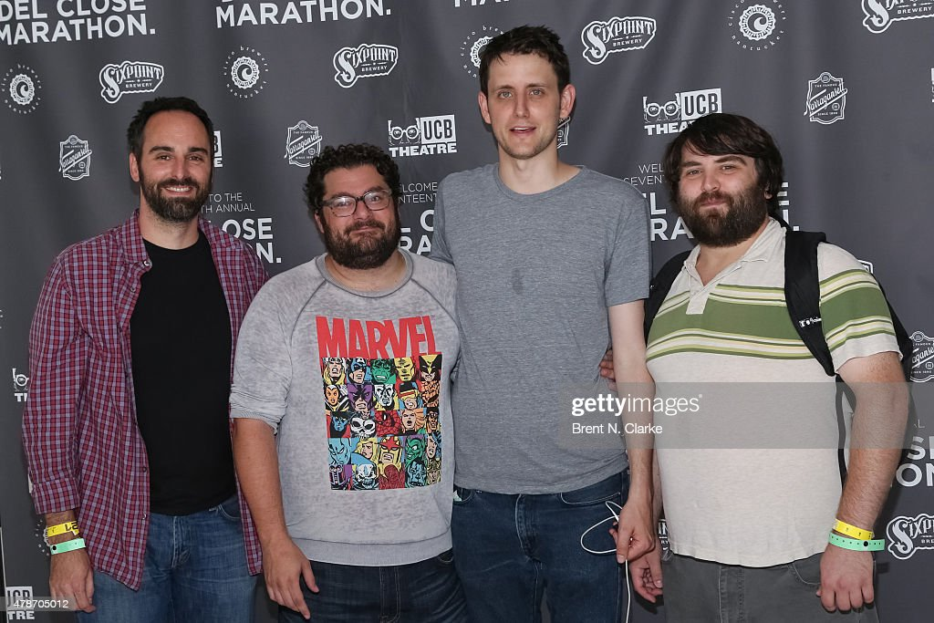 Comedians Anthony King, Bobby Moynihan, Zach Woods and John Gemberling arrive for the 17th Annual Del Close Improv Comedy Marathon cocktail reception held at Sun West Studios on June 26, 2015 in New York City.