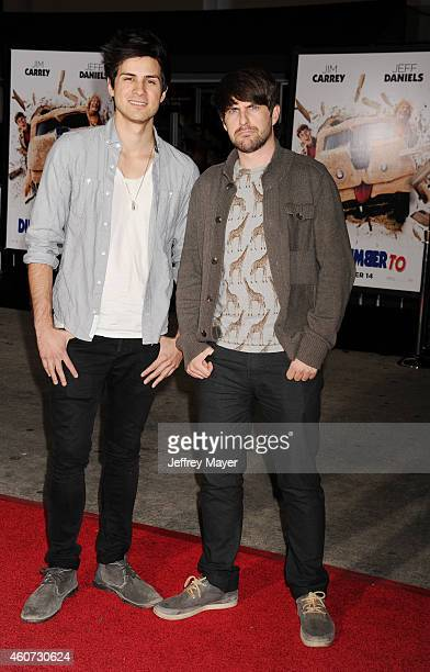 Comedians Anthony Padilla and Ian Hecox arrive at the Los Angeles premiere of 'Dumb And Dumber To' at Regency Village Theatre on November 3 2014 in...