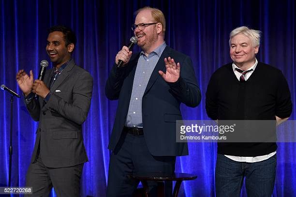 Comedians Aziz Ansari Jim Gaffigan and Mike Meyers speak on stage at the Food Bank Of New York City's Can Do Awards 2016 hosted by Mario Batali at...
