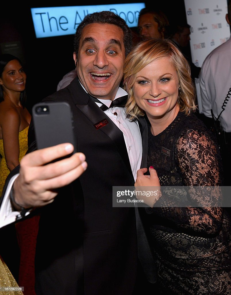 Comedians Bassem Youssef and Amy Poehler attend the TIME 100 Gala, TIME'S 100 Most Influential People In The World reception at Jazz at Lincoln Center on April 23, 2013 in New York City.